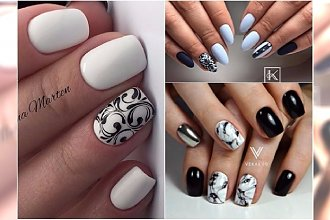 Czarno-biały manicure powraca jesienią. Co powiecie na takie wzory?