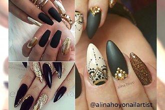 Manicure 2017: czarno-złoty manicure na jesień. Elegancki z nutką ekstrawagancji