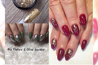 Manicure 2017: paznokcie ze złotymi płatkami. Alu flakes to hit jesieni!