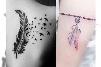 18 pomysłów na tatuaż z piórkiem - subtelne, dziewczęce inspiracje