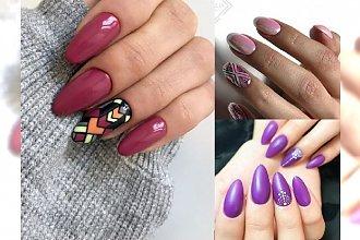 Modny manicure w odcieniach różu, fioletu i bordo. Mega kobiece, barwne zdobienia na ten rok