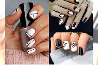 Manicure 2018: Biały manicure z geometrycznymi wzorami. Sprawdź najlepsze propozycje!