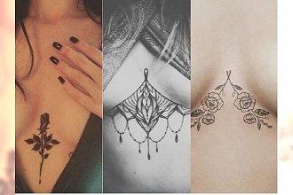 Delikatny tatuaż między piersiami. Hit czy kit?