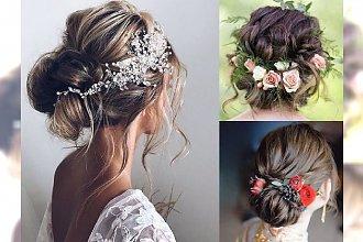 Upięcia ślubne 2018 - galeria najpiękniejszych fryzur ze zdobieniami