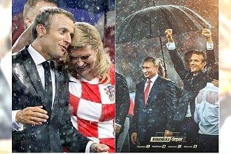 Prezydent Chorwacji przemokła na finale Mundialu. Parasoli wystarczyło tylko dla Putina!