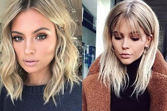 Półdługie fryzury dla blondynek - galeria modnych cięć