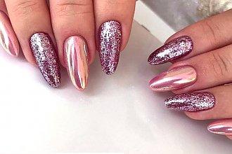 Świąteczny manicure ze złotem i srebrem. Eleganckie paznokcie na Boże Narodzenie