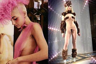 """Prześwitujące sukienki, futerka imitujące włosy łonowe - stroje co nieco """"burdelowe"""", piszą internauci..."""