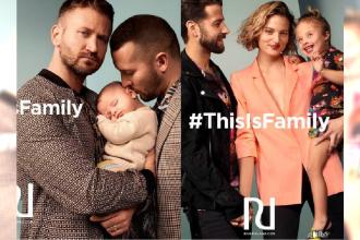 """Para mężczyzn wspólnie przytulająca niemowlę to nowa kampania znanej marki odzieżowej! """"This Is Family"""""""