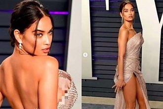 Modelka na gali chciała zachwycić kreacją, tymczasem ZASZOKOWAŁA wyzierającym spod sukienki SUTKIEM!