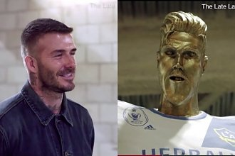 """Na widok swojego pomnika David Beckham osłupiał! """"ŻENUJĄCA!"""", powiedział o rzeźbie!"""