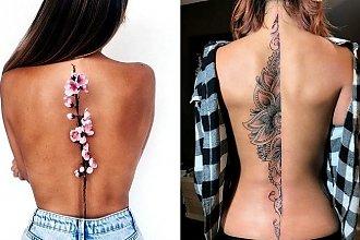 Tatuaże wzdłuż pleców - galeria subtelnych i kobiecych wzorów