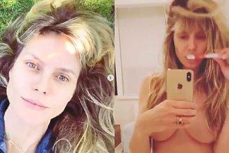 Heidi Klum pokazała jak myje zęby przed lustrem. Nuda? Ale modelka ma na sobie tylko MAJTKI!