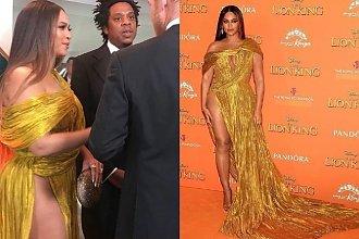 """Sukienka Beyonce pokazała za dużo! Odważne rozcięcie odsłoniło pachwinę: """"Gruba Berta"""""""