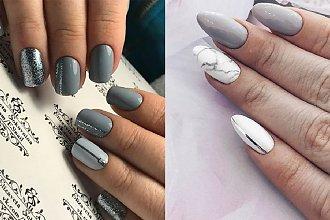 Szare paznokcie - 26 zjawiskowych pomysłów na szary manicure [GALERIA]