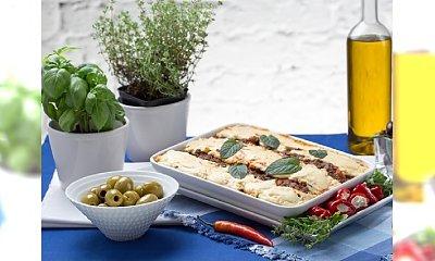 Zapiekanka z wołowiny, pasty sezamowej, bakłażana i serka