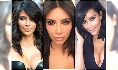Zoom na najlepsze fryzury półdługie Kim Kardashian