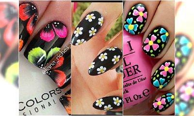 """Wiosenny manicure w kwiaty z """"czarnym charakterem"""""""