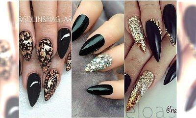 Paznokcie szpice - 20 pomysłów na ekstrawagancki czarny manicure