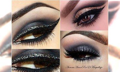 Elegancki makijaż oczu na sylwestra: smoky eyes, z kreską, z brokatem
