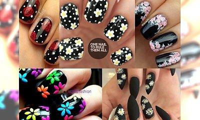 Czarny manicure w kwiaty – intrygujące wzorki na paznokcie