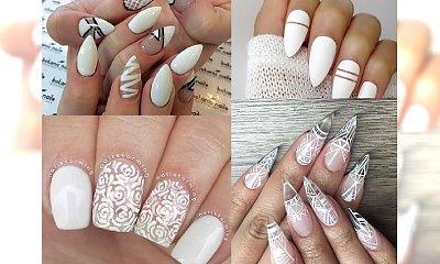 40 HOT PROPOZYCJI: Biały manicure negative space