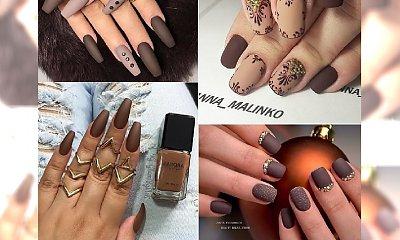 Jesienny manicure: paznokcie w kolorze kawy z mlekiem