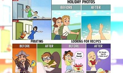 """11 ilustracji, które pokazują, jak bardzo Internet zmienił nasze życie. Nie wiemy jak Was, ale nas to PRZERAŻA! Zerknijcie na to porównanie życia """"kiedyś"""" i """"dziś""""..."""