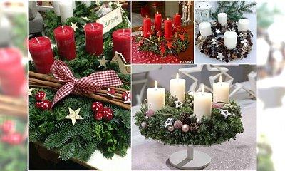 Stroik świąteczny ze świecą na Boże Narodzenie - galeria pomysłów na niezwykłą kompozycję