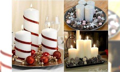 Prosty stroik ze świec na Boże Narodzenie - idealny na stół lub kredens