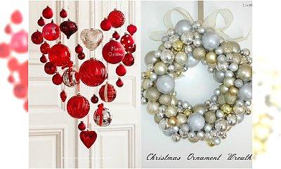 Dekoracje świąteczene z bombek do zawieszenia na okno, drzwi lub na żyrandol