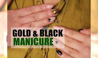 MANICURE SYLWESTROWY: geometryczna stylizacja black & gold. Zobacz krok po kroku, jak ją wykonać!