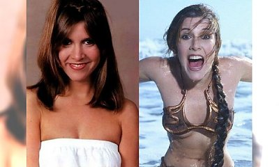 Carrie Fisher na zdjęciach z młodości. Miała do siebie dystans. Do historii przeszło to złote bikini