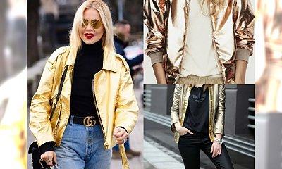Gwiazdorski look: złota kurtka! Zobacz, jak ją nosić