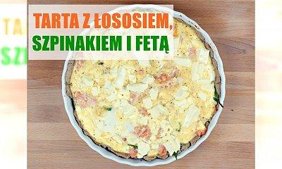 Tarta z łososiem, szpinakiem i fetą