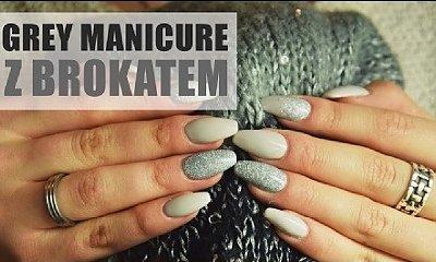 Pomysł na manicure: subtelna i elegancka szarość z dodatkiem brokatu (tutorial)