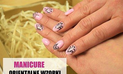 Orientalny manicure - różowe paznokcie z czarnym wzorkiem
