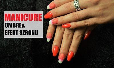 Czerwony manicure ombre z efektem szronu