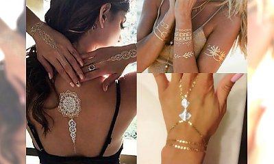 Są pięknie wyraziste, seksowne i... zmywalne! Inspiracje na metaliczne złote tatuaże