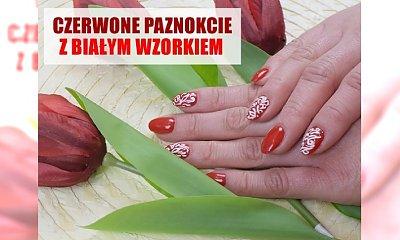 Czerwony manicure z białym zdobieniem - idealny na mecz Polski!