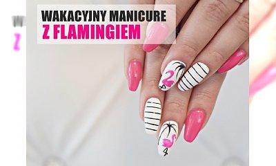 Wakacyjny manicure z flamingiem - tutorial