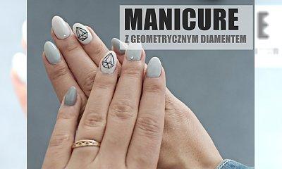 Manicure w odcieniach szarości z geometrycznym diamencikiem
