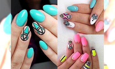 AZTEC NAILS - śliczny, geometryczny i barwy manicure idealny na sierpień. Galeria inspiracji
