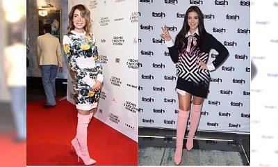 Klaudia Halejcio i Olga Bołądź w takich samych RÓŻOWYCH KOZAKACH NA SZPILCE! Która nosi je lepiej?