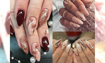 Najpiękniejsze stylizacje paznokci w kolorze złota i beżu - manicure pełen blasku!