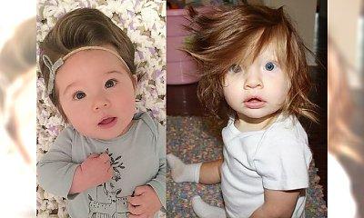 Niemowlęta z burzą włosów na głowie - niejeden dorosły mógłby im pozazdrościć!