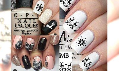 Czarno-biały manicure z motywem świątecznym - odjazdowe inspiracje z internetu