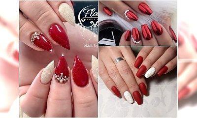 Czerwony manicure na święta. Eleganckie hybrydy ze złotem, srebrem i cyrkoniami