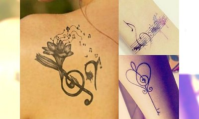 Tatuaże inspirowane muzyką - wzory z kluczem wiolinowym, pięciolinią i instrumentami