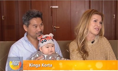 """Kinga Korta pierwszy raz z synkiem w tv. Jej mąż był przy CESARSKIM CIĘCIU! """"Upierał się, żeby być przy porodzie"""""""